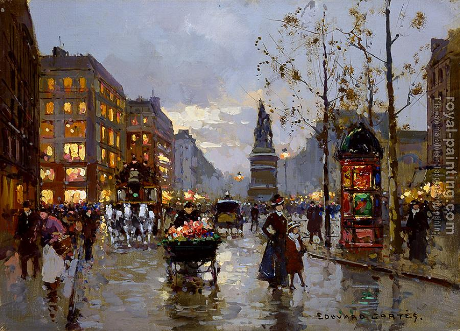 place de clichy by edouard cortes oil painting reproduction. Black Bedroom Furniture Sets. Home Design Ideas