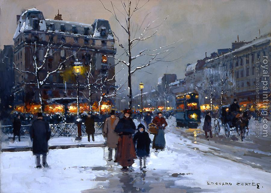 Edouard Cortes : Place Pigalle, Winter Evening
