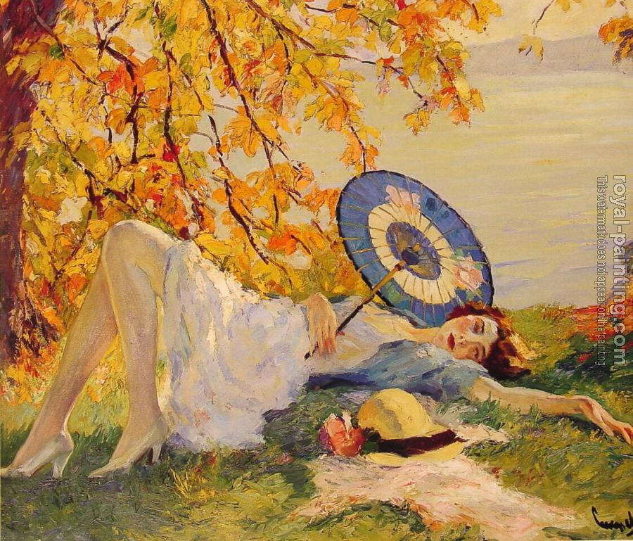 Woman Reclining by a Lake