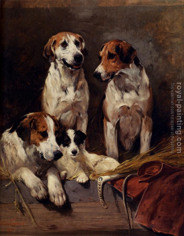 John Emms : Three Hounds With A Terrier
