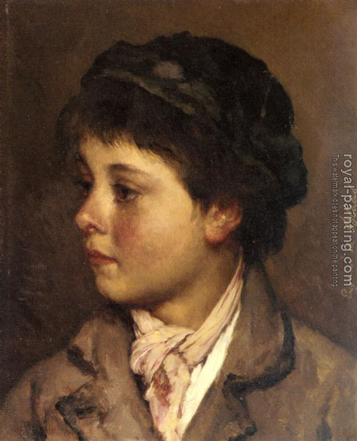 Head Of A Young Boy By Eugene De Blaas