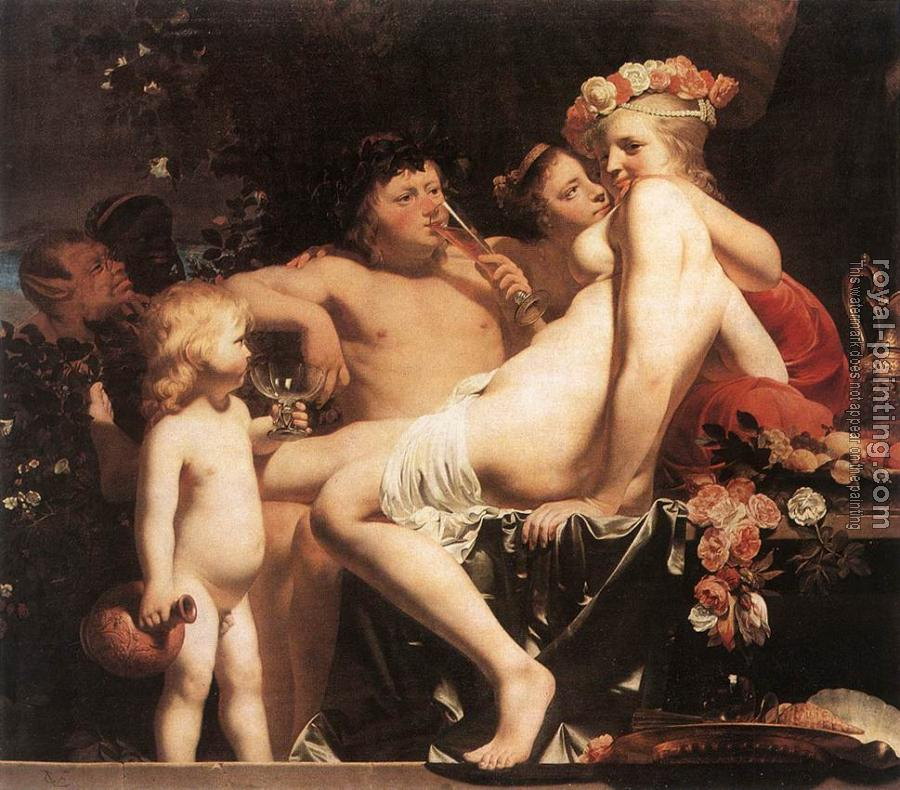 Caesar Van Everdingen : Bacchus with Two Nymphs and Cupid