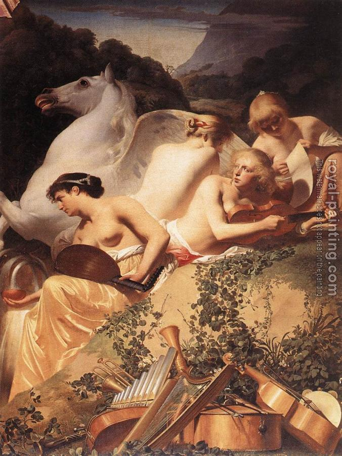 Caesar Van Everdingen : The Four Muses with Pegasus