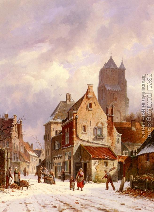 Adrianus Eversen : A Winter Street Scene