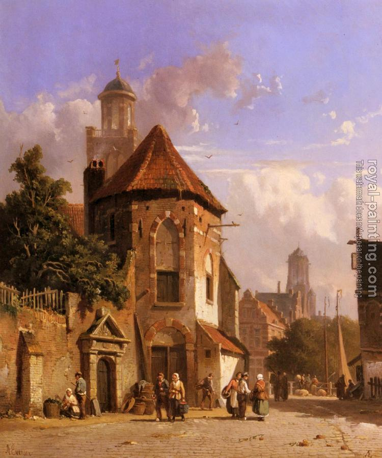 Adrianus Eversen : View Of A Dutch Street