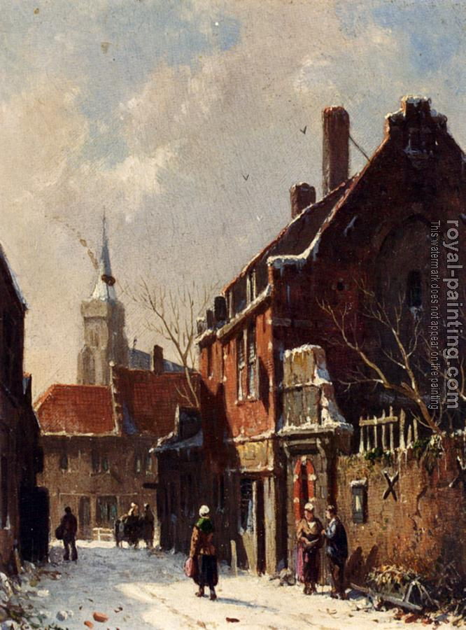 Adrianus Eversen : Figures In The Streets Of A Dutch Town In Winter