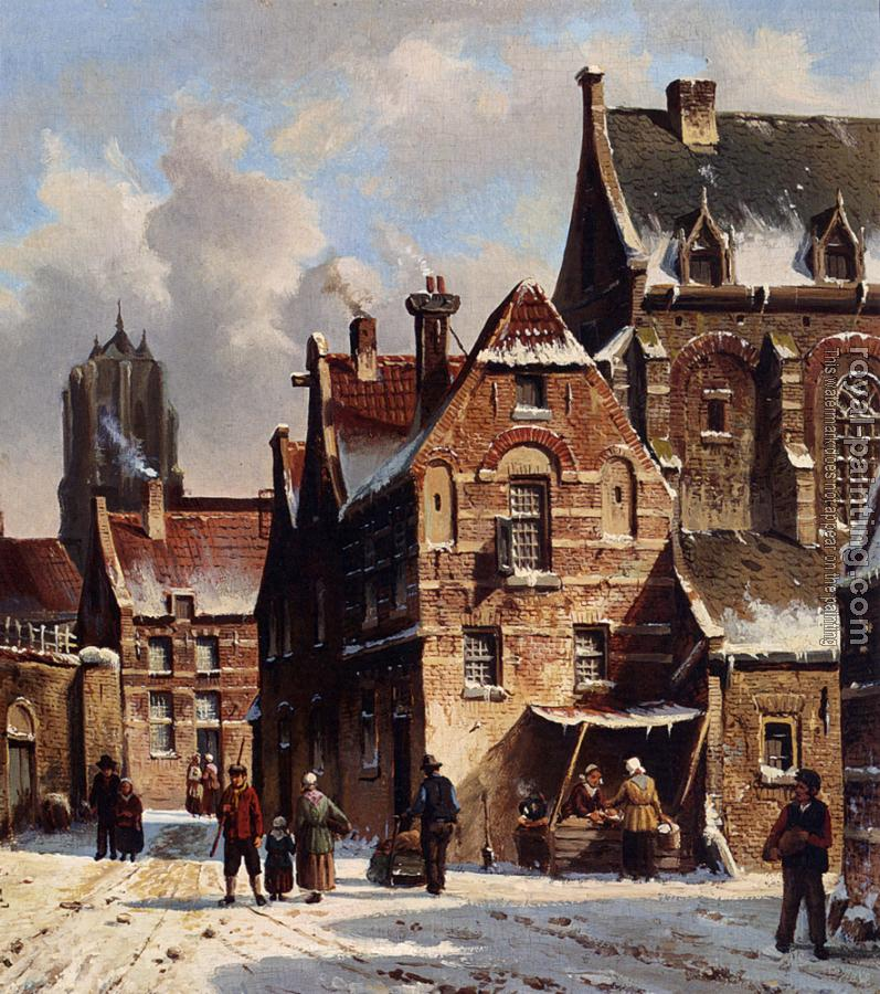 Adrianus Eversen : Figures In The Streets Of A Wintry Town
