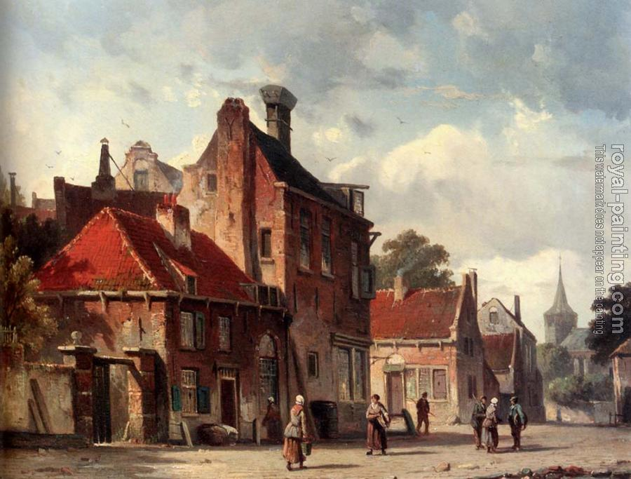 Adrianus Eversen : View Of Town With Figures In A Sunlit Street