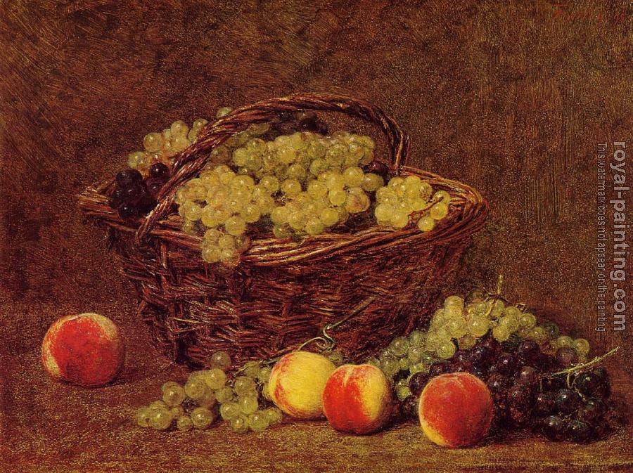 Henri Fantin-Latour : Basket of White Grapes and Peaches