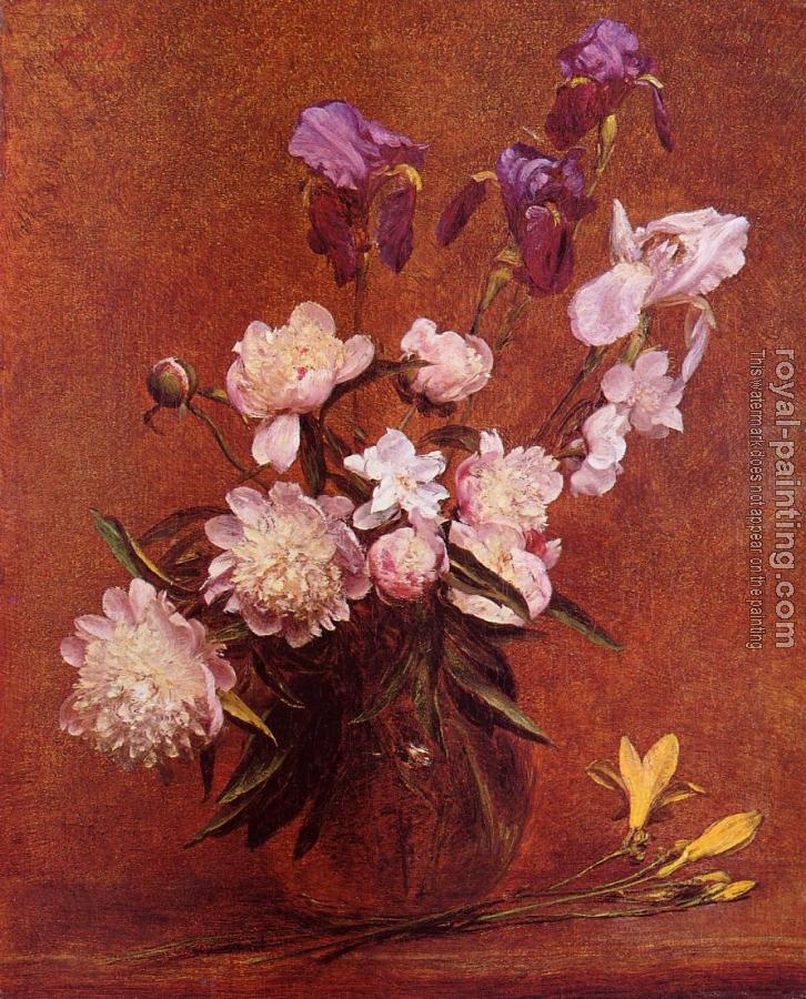 Henri Fantin-Latour : Bouquet of Peonies and Iris