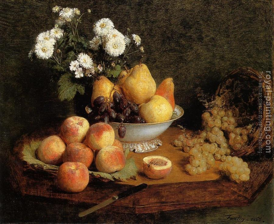 Henri Fantin-Latour : Flowers and Fruit on a Table