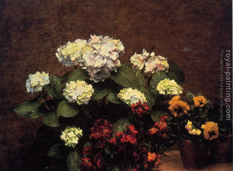 Henri Fantin-Latour : Hydrangias, Cloves and Two Pots of Pansies