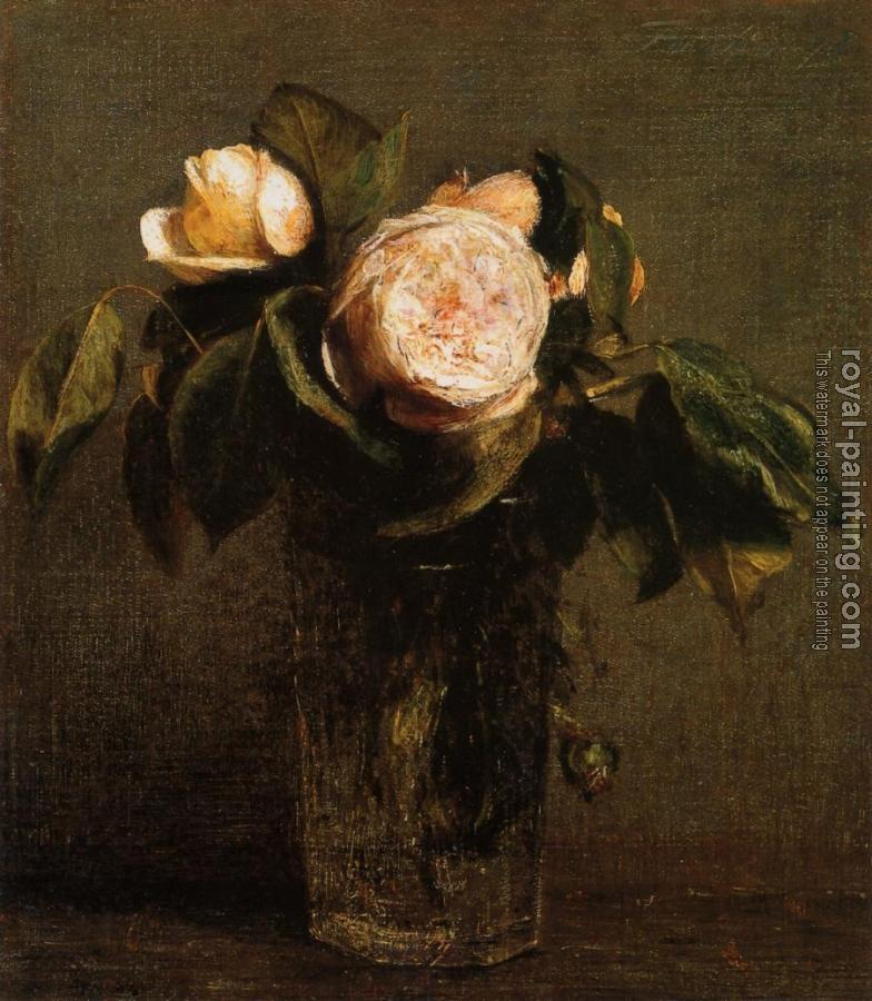 Henri Fantin-Latour : Roses in a Tall Glass