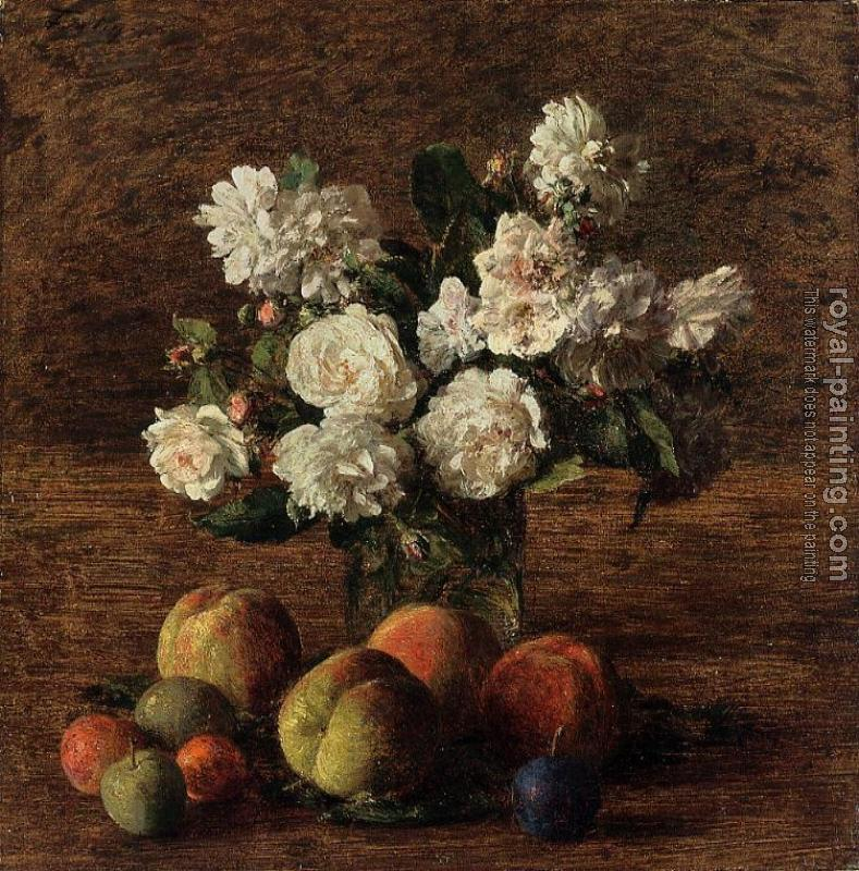Henri Fantin-Latour : Still Life Roses and Fruit