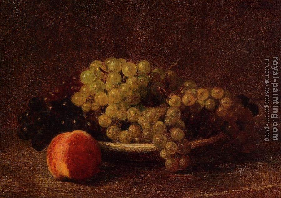 Henri Fantin-Latour : Still Life with Grapes and a Peach