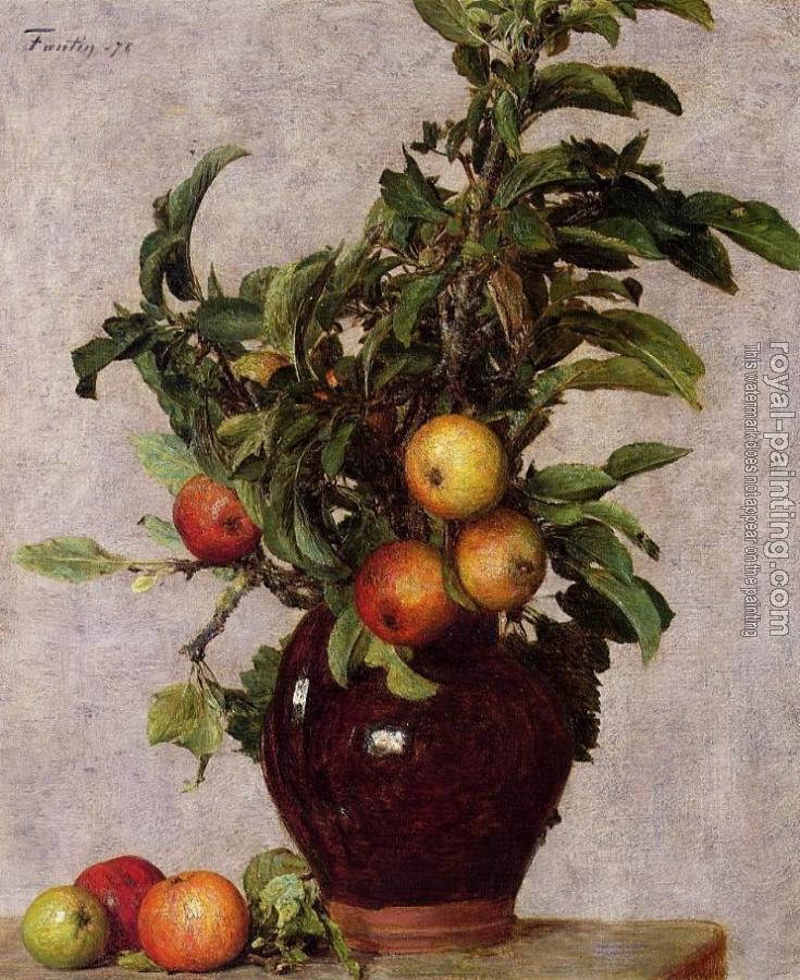 Henri Fantin-Latour : Vase with Apples and Foliage