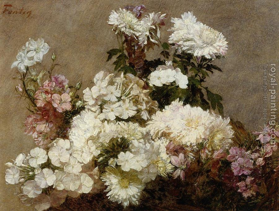 Henri Fantin-Latour : White Phlox, Summer Chrysanthemum and Larkspur
