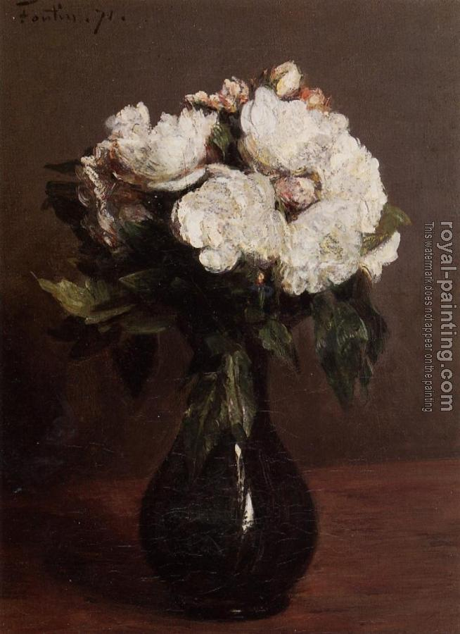 White Roses in a Green Vase