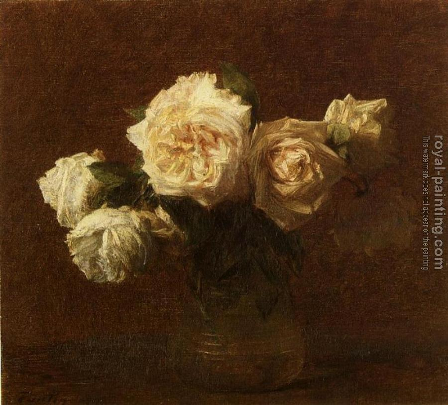 Henri Fantin-Latour : Yellow Pink Roses in a Glass Vase