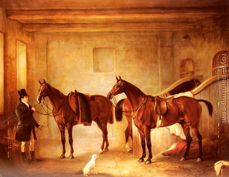 John Ferneley : Sir John Thorold's Bay Hunters With Their Groom In A Stable