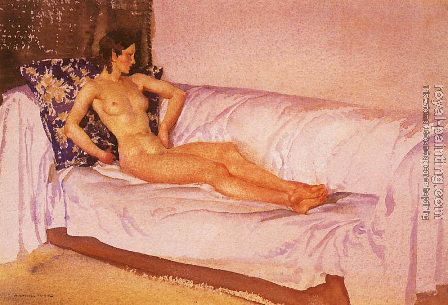 Sir William Russell Flint : The Brocade Cushion