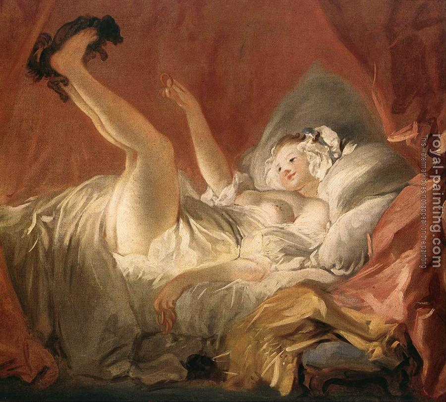 Jean-Honore Fragonard : Young Woman Playing with a Dog