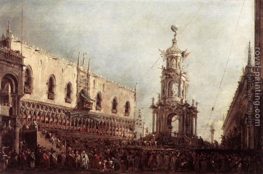 Francesco Guardi : Carnival Thursday on the Piazzetta