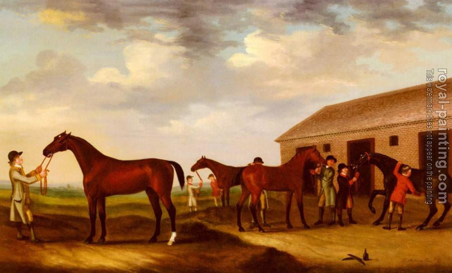 Francis Sartorius : Four Racehorses Outside The Rubbing Down House Newmarket