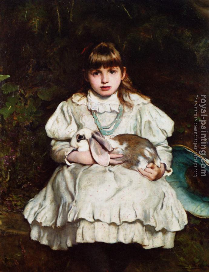 Frank Holl : Portrait of a Young Girl Holding a Pet Rabbit