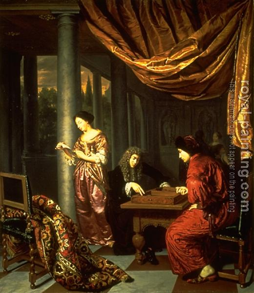 Frans Van Mieris The Elder : Interior with Figures Playing Tric trac