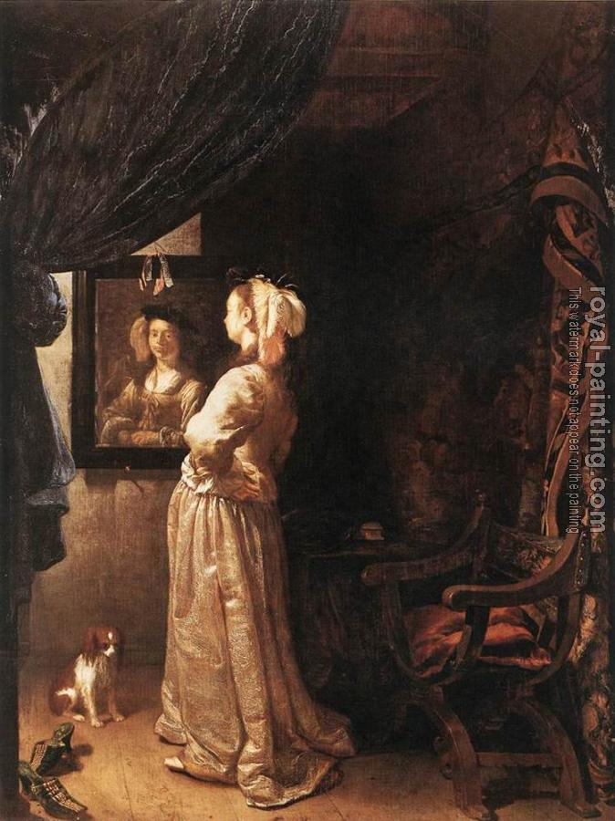 Frans Van Mieris The Elder : Woman before the Mirror