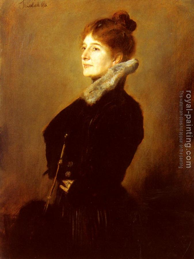 Franz Von Lenbach : Portrait Of A Lady Wearing A Black Coat With Fur Collar