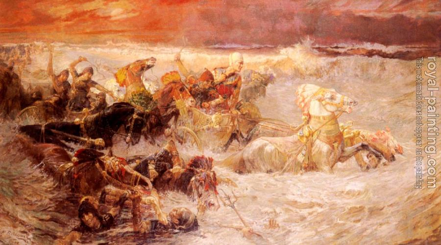Frederick Arthur Bridgman : Pharaoh's Army Engulfed by the Red Sea