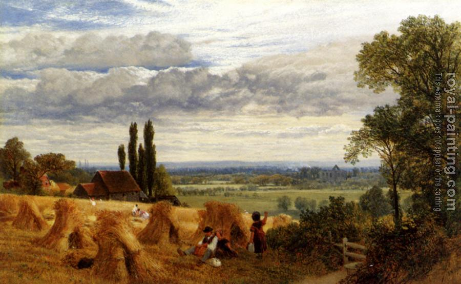 Frederick William Hulme : Hulme Frederick William Harvesting Near Newark Priory Ripley Surrey