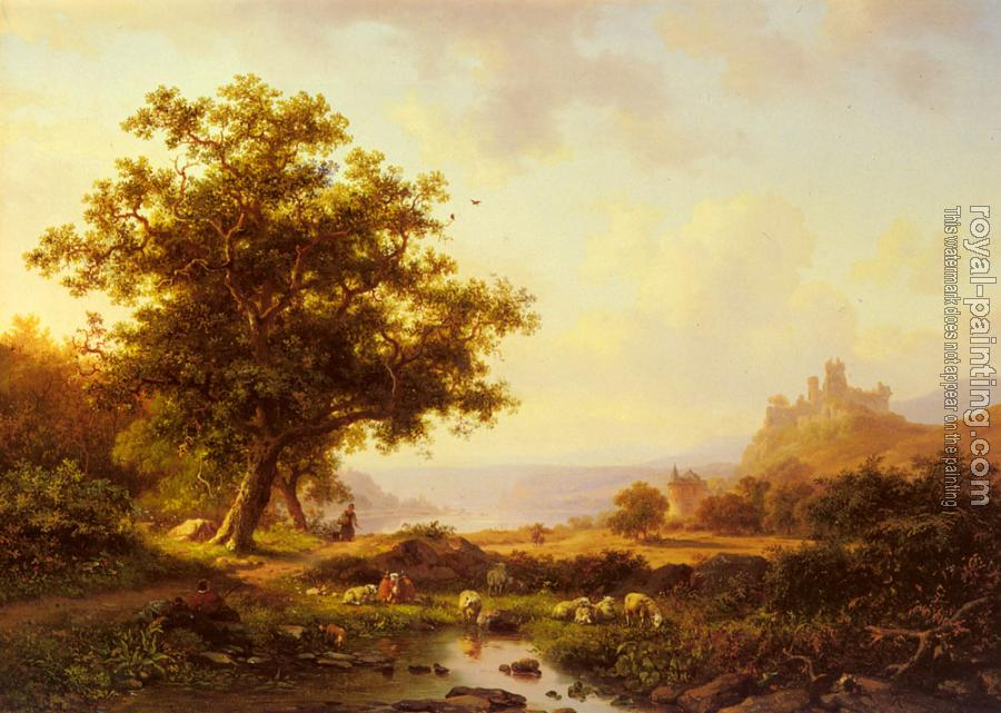 Frederik Marianus Kruseman : An Extensive River Landscape With A Castle On A Hill Beyond