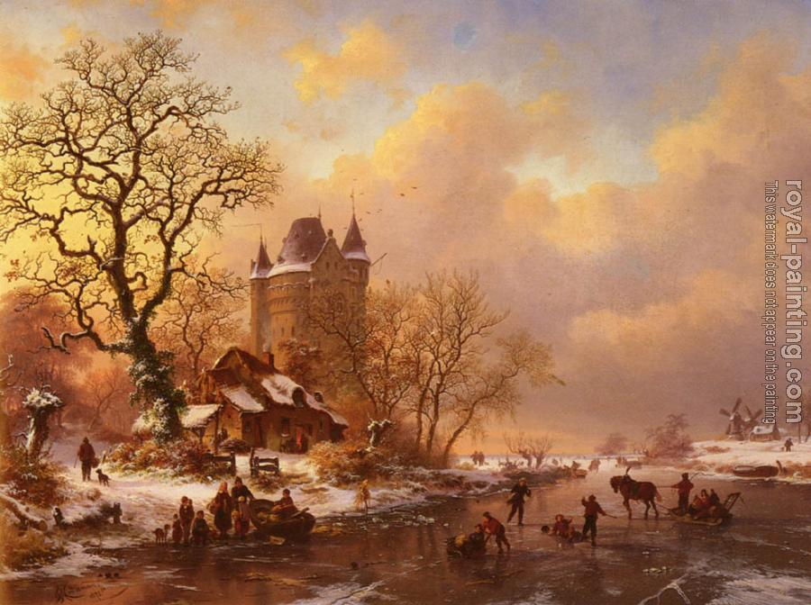 Frederik Marianus Kruseman : Skating In The Midst Of Winter