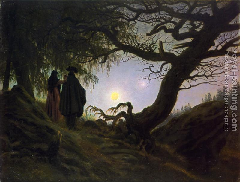 Caspar David Friedrich : Man and Woman Contemplating the Moon