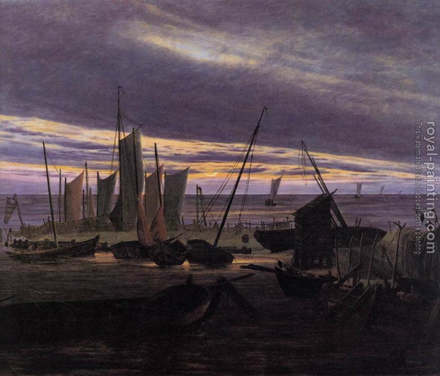 Caspar David Friedrich : Boats In The Harbour At Evening