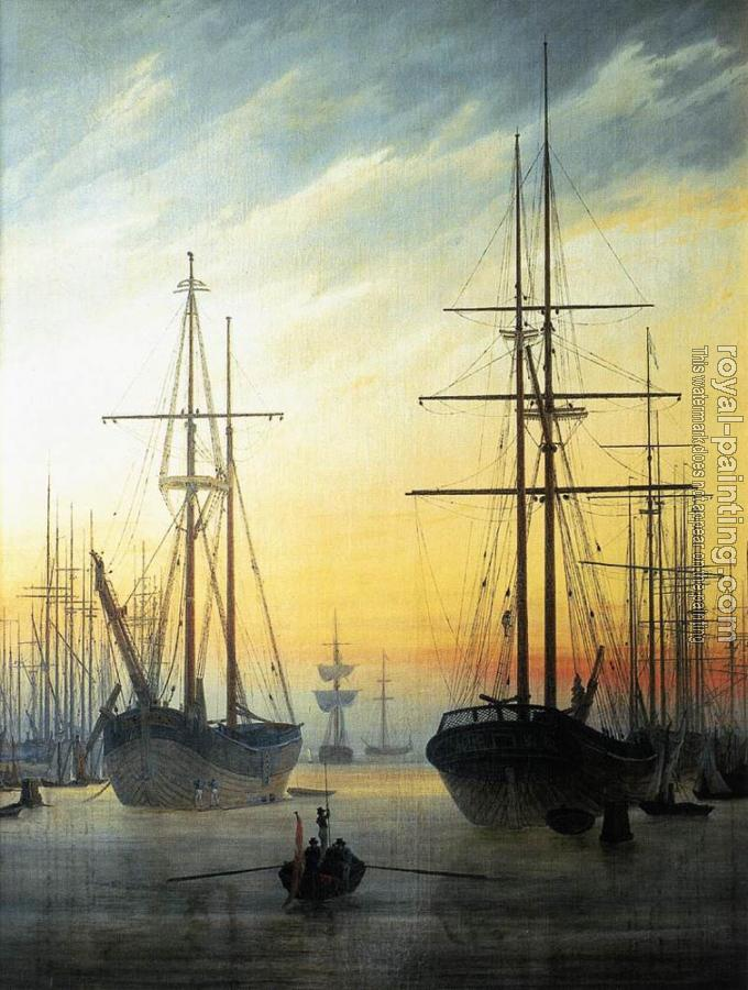 Caspar David Friedrich : View Of A Harbour