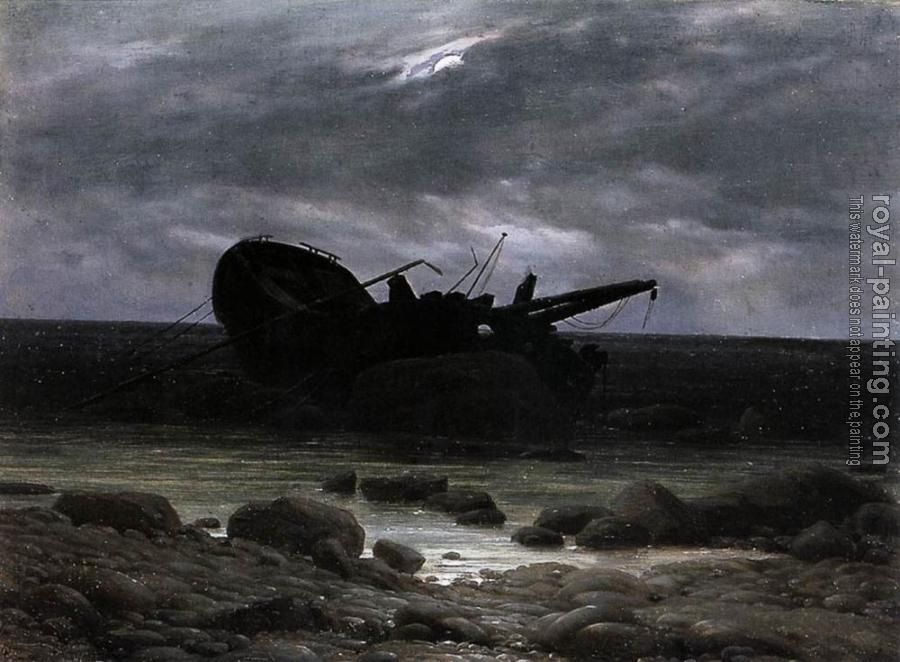 Caspar David Friedrich : Wreck In The Moonlight