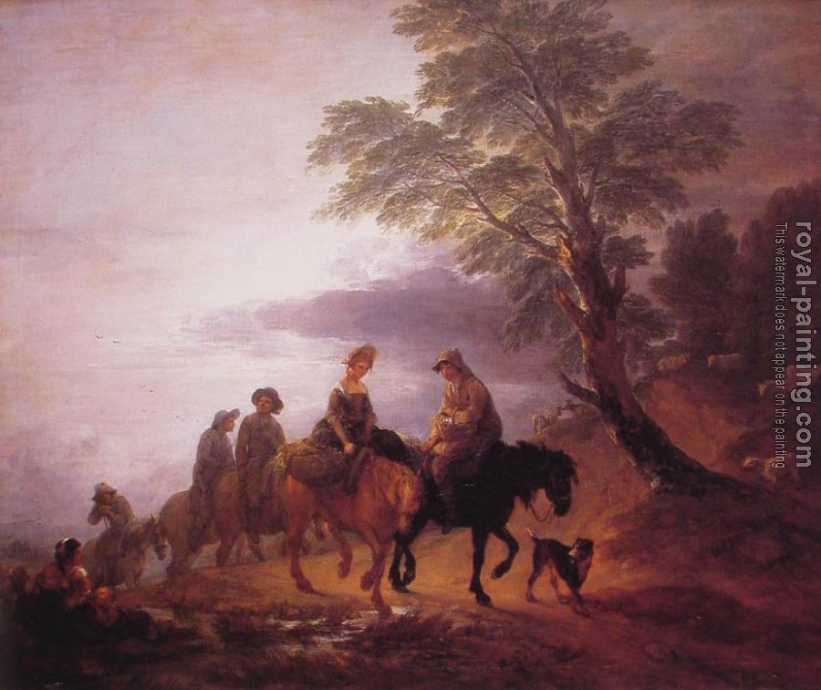 Thomas Gainsborough : Open Landscape with Mounted Peasants