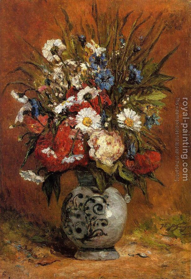 Paul Gauguin : Daisies and Peonies in a Blue Vase