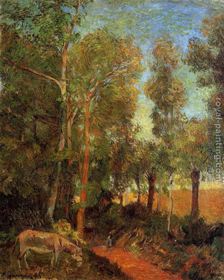 Paul Gauguin : Donkey by the Lane