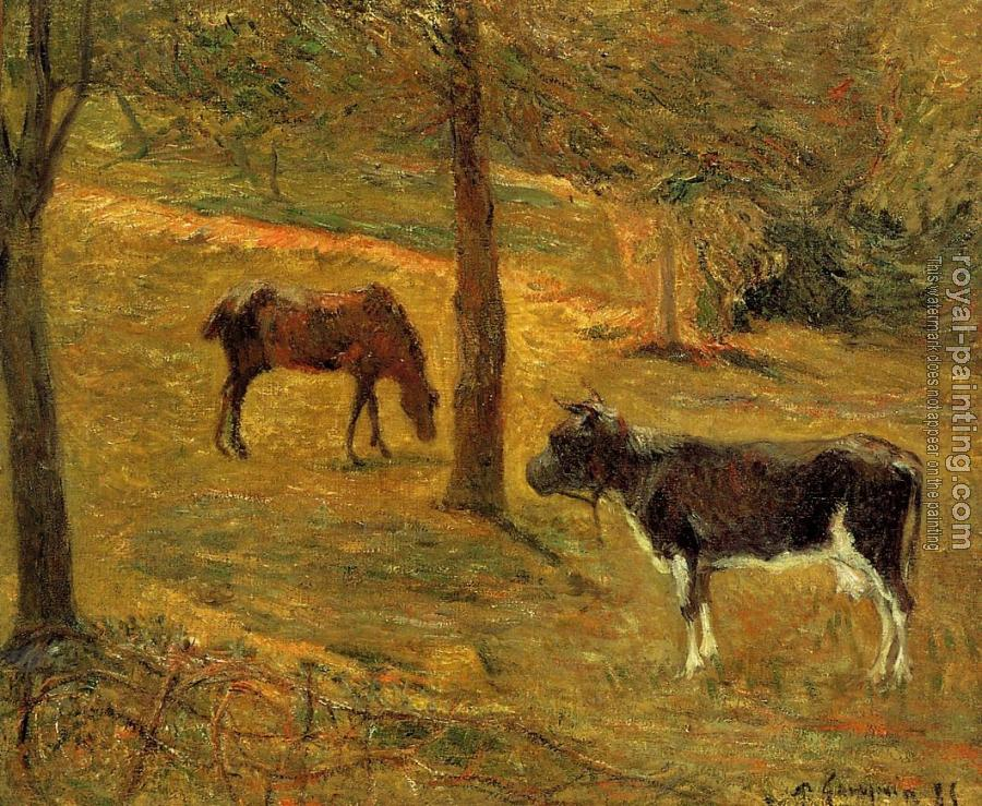 Paul Gauguin : Horse and Cow in a Field