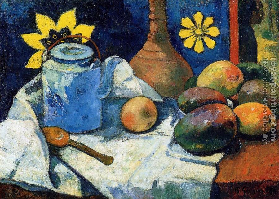 Paul Gauguin : Still Life with Teapot and Fruit