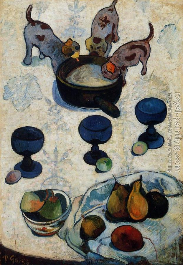 Paul Gauguin : Still Life with Three Puppies II