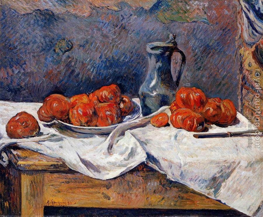 Paul Gauguin : Tomatoes and a Pewter Tankard on a Table