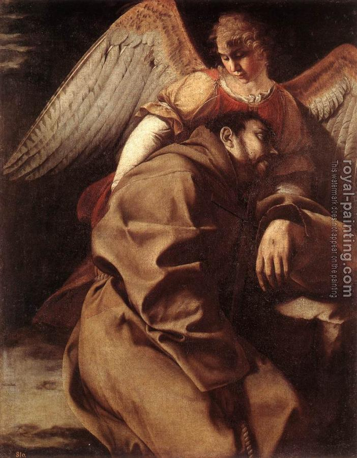 Orazio Gentileschi : St Francis Supported by an Angel