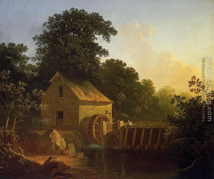 George Caleb Bingham : Landscape with Waterwheel and Boy Fishing