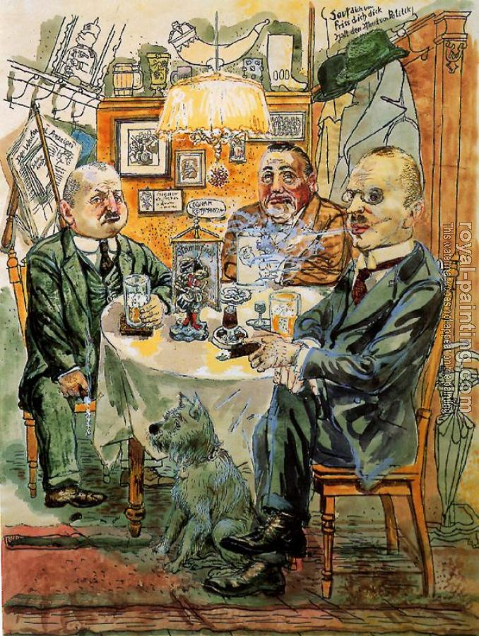 George Grosz : Political Conversation. The Coffee House